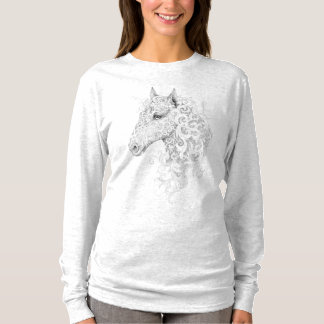 Horse Head Tattoo (B/W) Light Long Sleeve T-Shirt