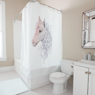 Horse Head Tattoo Shower Curtain
