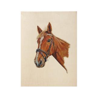 horse head, white blaze. Art. customise me. Wood Poster