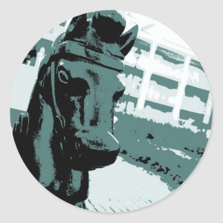 Horse Hitching Post Pop Art Round Sticker