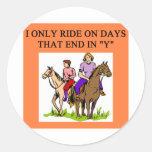horse horseback rider riding round sticker