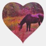 Horse in a Kaleidoscope Coloured Field Heart Sticker