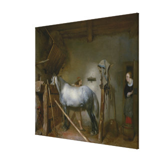 Horse in a Stable, c.1652-54 (oil on panel) Stretched Canvas Print