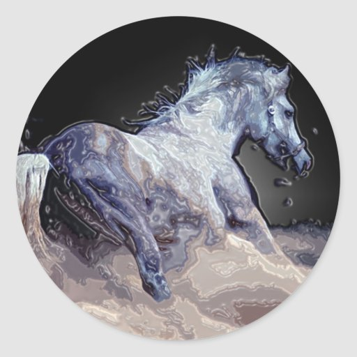 Horse in Action Classic Round Sticker