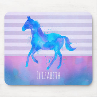 Horse in Blue and Purple Watercolor Personalised Mouse Mat