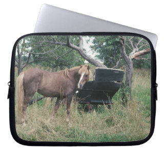 Horse in field with buggy laptop sleeve