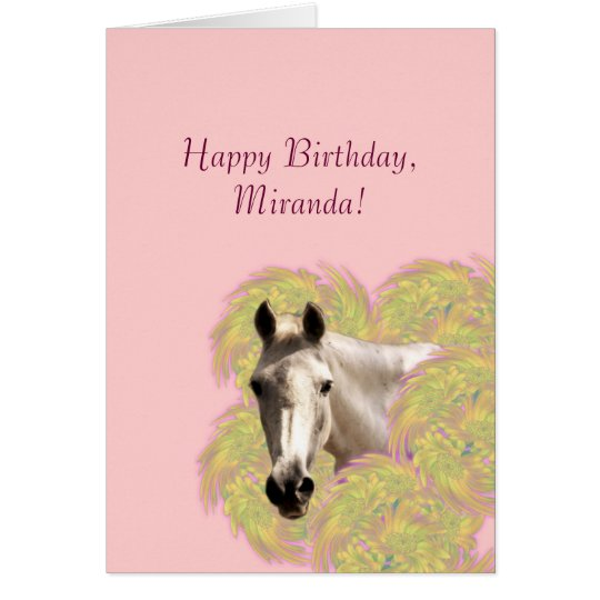 Horse in Flowers - Happy Birthday! Card