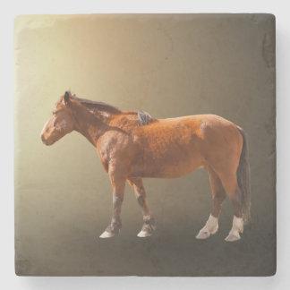 HORSE IN LIGHT STONE BEVERAGE COASTER
