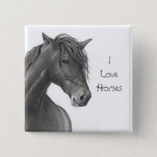 HORSE IN PENCIL: REALISM: HORSE LOVERS 15 CM SQUARE BADGE