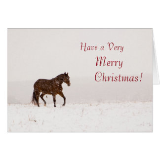 Horse in Snow Merry Christmas Card