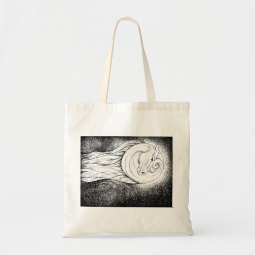 horse in the moon tote bags