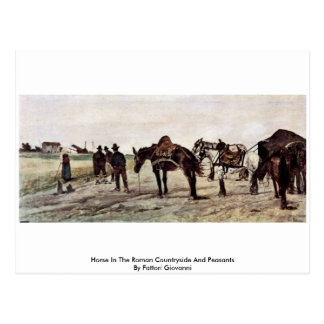 Horse In The Roman Countryside And Peasants Postcard