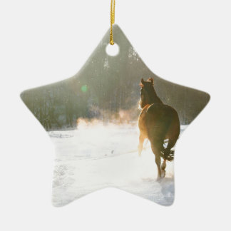 Horse in the snow christmas ornament