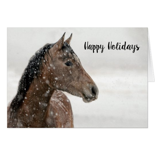 Horse in the Snow Holiday Card Christmas