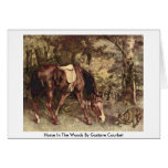 Horse In The Woods By Gustave Courbet Cards