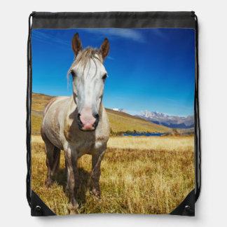 Horse in Torres del Paine National Park, Laguna Drawstring Bags