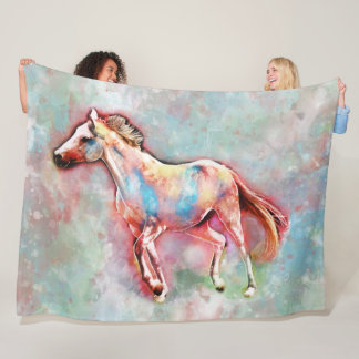Horse in watercolor, a beautiful horse image fleece blanket