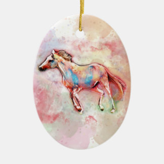 Horse in watercolor christmas ornament