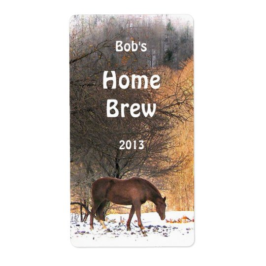 Horse in Winter Beer Label Shipping Label