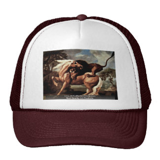 Horse Is Attacked By A Lion By Stubbs George Trucker Hat