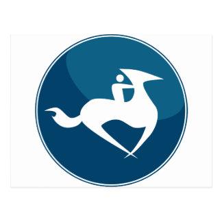 Horse Jockey Race Blue Icon Button Postcard