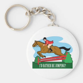 Horse Jump Basic Round Button Key Ring