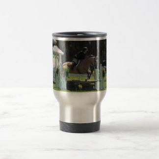 horse jumping, buckskin horse, horse stainless steel travel mug