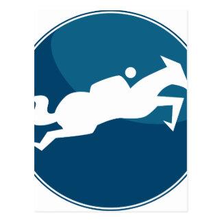 Horse Jumping Jockey Race Blue Icon Button Postcard