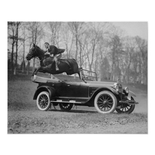 Horse Jumping Over Car, 1923. Vintage Photo Poster