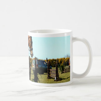 horse jumping to goal overcome difficulty basic white mug