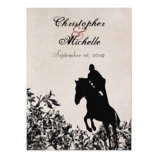 Horse Jumping Wedding Invite with Reception & RSVP