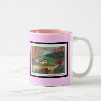 ,Horse Landscape Two-Tone Coffee Mug