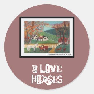 Horse Landscape Round Stickers