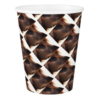 Horse looking down paper cup