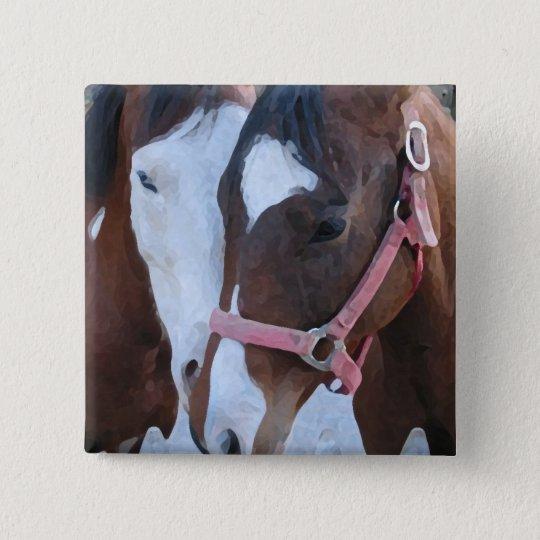 Horse Love 15 Cm Square Badge