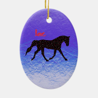 Horse, Love and Hearts Christmas Ornament