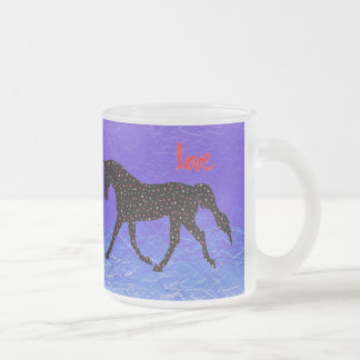 Horse, Love and Hearts Frosted Glass Coffee Mug