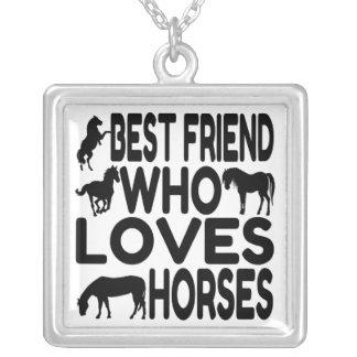 Horse Lover Best Friend Square Pendant Necklace