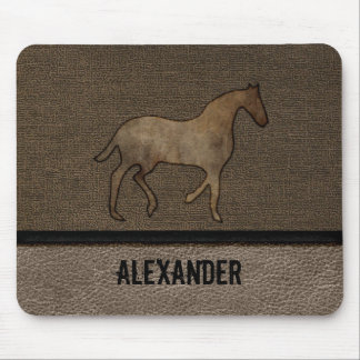 Horse Lover Leather Masculine Brown Rugged Art Mouse Mat