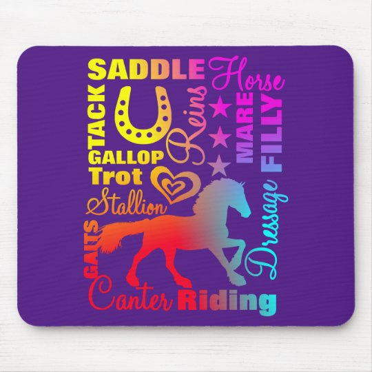 Horse Lovers Terminology Rainbow Typography Mouse Mat