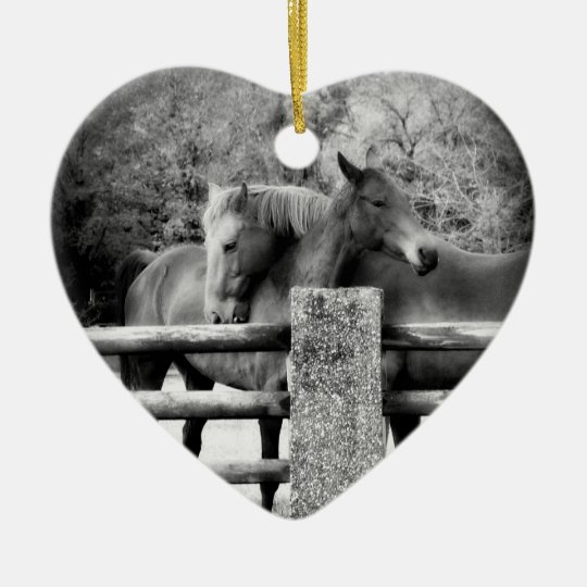 Horse Lovers Wedding or Anniversary Heart Christmas Ornament