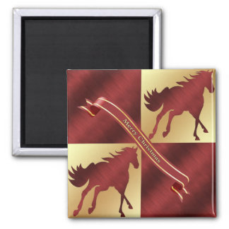 Horse Maroon and Gold Merry Christmas Square Magnet