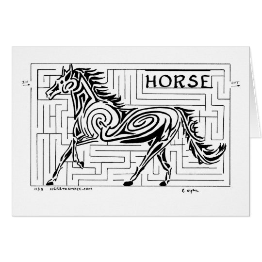 Horse Maze in the Tribal Art style Greeting Card