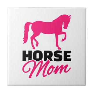 Horse mom small square tile