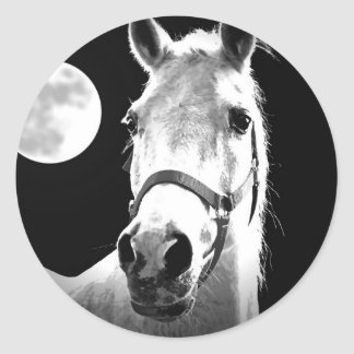 Horse & Moon Round Sticker