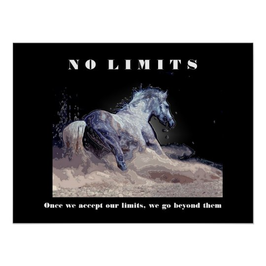 Horse Motivational Inspirational No Limits Quote Poster