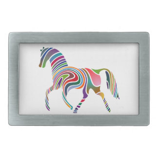 Horse of rainbow rectangular belt buckle
