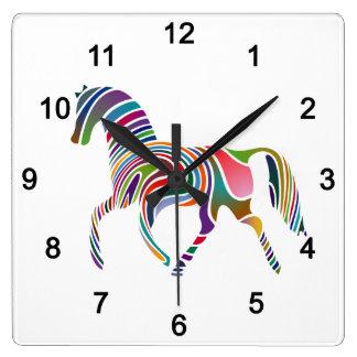 Horse of rainbow square wall clock