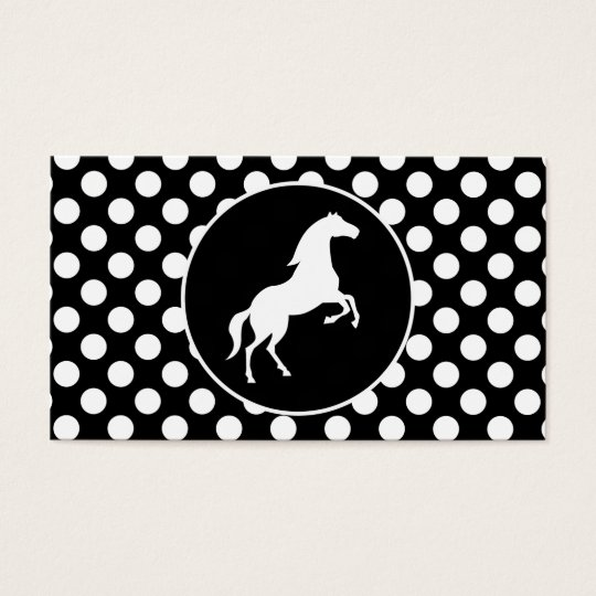Horse on Black and White Polka Dots Business