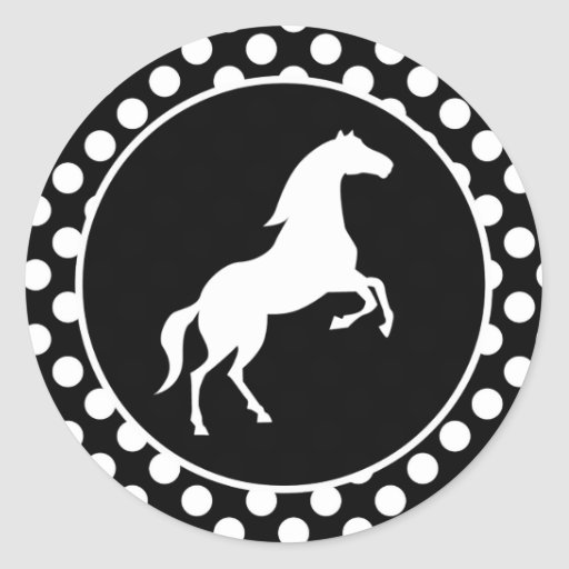 Horse on Black and White Polka Dots Round Sticker